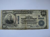 $10 1902 Jackson Mississippi MS National Currency Bank Note Bill! #6646 FINE!