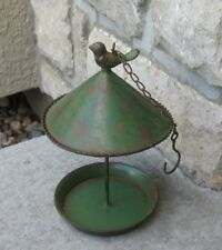 BIRD FEEDER*Galvanized GREEN Metal*Primitive/French Country Farmhouse Tree Decor