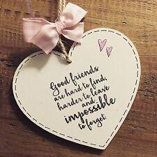Friend Gift Plaque Sign Keepsake Present Best Good Heart Pink Heart Handmade Bff