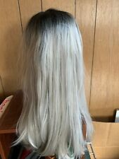 Black and White Ombré Long Women's Wig