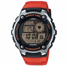 Casio AE-2100W-4AV Silver with Orange Strap World Time Digital Sports Watch