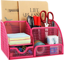 Mesh Desk Organizer 6 Compartment For Office Supplies - Pink