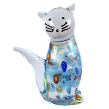 "Hand Blown Art Glass Cat Figurine Multi-colored Millefiori 3"" High New!"