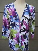 Chicos Womens Button Vneck Stretch Knit Top Sz 0 S 36B Floral Abstract 3/4 Slve