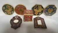 7pc Vintage Italian Style Mosaic Painted Glass Box Mirrors Coaster Set