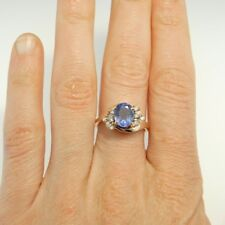 Natural Oval Ceylon Blue Sapphire Diamond Ring 14K Yellow Gold Color Engagement