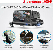New 4'' HD 1080P Car DVR 3 Camara Lens With Rear View Video Recorder Camcorder