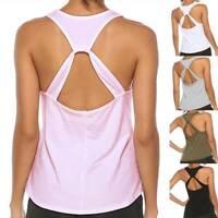 Womens Basic Tank Top Racer Back Yoga Tee Work Out Gym Sleeveless Shirts Vest US