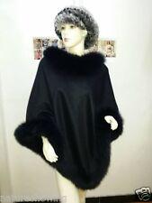 Opulent Lady Real Cashmere Genuine high quality Fox Fur Cloak Poncho/coat/Black