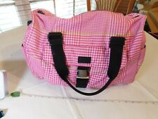 Ralph Lauren Polo pink white green houndstooth large duffel bag diaper travel