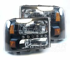 BLACK w/ EURO CLEAR LENS LED HEADLIGHTS PAIR SET FOR FORD EXCURSION 2000-2004