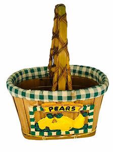 Wicker basket Pears Lined with handle Vintage Dandee Tag