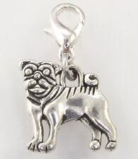 C50 Anhänger Charm Mops Damen Armband Schmuck Bettelarmband Silber Karabiner Dog