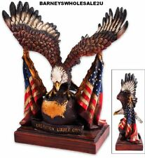 "Patriotic Eagle With US Flag Statue • 9 1/2""x10 1/2""-Very Nice-FREE SHIPPING"