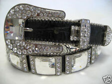 BB SIMON BLACK ACID HAIR LEATHER BELT WITH CLEAR SWAROVKSI CRYSTALS -SMALL