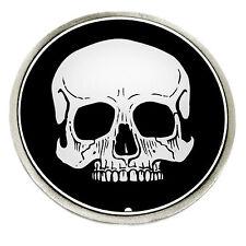 Calavera Hebilla de cinturón plano 2D blanco y negro gótico auténtico Great American Products