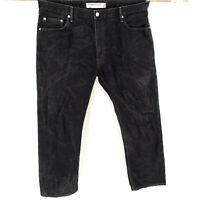 Levi's 505 Straight Leg 40x30 Regular Fit Black Jeans Stone Washed Classic Denim