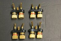 lot of 4 Gold Speaker Binding Post twise Scew type loaded / subwoofer basket H