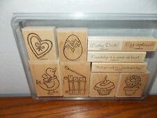 Stampin Up Wagon Full of Fun Duck Egg Heart Flowerpot Wood Stamp Set of 10 L0117
