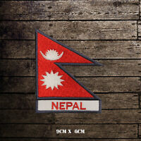 NEPAL Flag With Name Embroidered Iron On Sew On Patch Badge For Clothes Etc