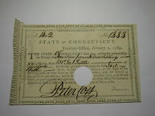 1789 Connecticut Pay Table Office Colonial Currency Note Bill! Peter Colt Signed