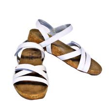 NEW Walking Cradles Pool Womens 8M Sandals White Leather Hook Loop Straps Cork