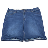 Lane Bryant Women Jean Shorts Denim High Rise Plus Size 24 Blue
