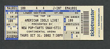2002 American Idols unused concert ticket Kelly Clarkson Continental Arena NJ