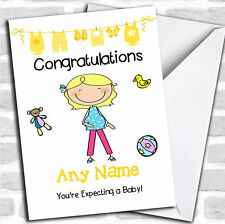 Single Blonde Mum To Be Expecting A Baby Pregnancy Customised Card