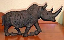 "Large 12"" Long Heavy Resin Wild Animal Black Rhinoceros Figurine Statue Nice!"
