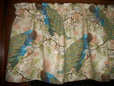 Peacock birds turquoise teal dogwood cotton fabric kitchen curtain Valance
