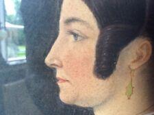 Country House Piccolo Acquerello Ritratto di signora 19th secolo naieve PRIMITIVA