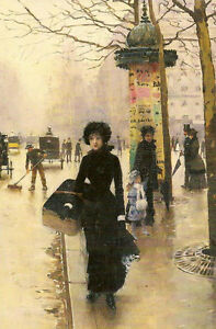 Oil painting portraits Une Parisienne a Parisian lady in street Hand painted