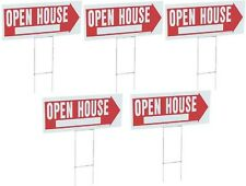 """(5) ea Hy-Ko Products RS-803 10"""" x 24"""" Corrugated Plastic """"Open House"""" Signs"""