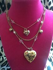 Betsey Johnson Vintage FLY TO ME Tea Party Heart Locket Rose Bud Necklace