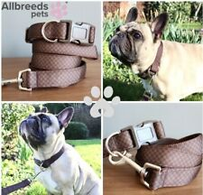 Allbreeds Checkerboard Dog Collar And Lead, Travel Puppy Frenchie French Bulldog