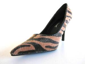 Anne Michelle Ladies Stiletto Court Shoe Beige Black Zebra L2R943 (33B)
