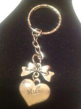 mum bow keyring silver plated. Key ring