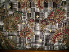 CANTERBURY MANOR GOLD EMBELLISHED FLOWERS ON  HOUND'S TOOTH PLAID COTTON FABRIC