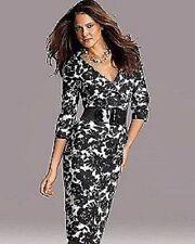 Newport News Skirt Flowers Black & White Size 6 NEW BEAUTIFUL Linen Fully Lined