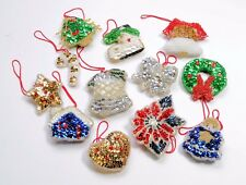 Vintage Hand Stitched Beads Sequin CHRISTMAS TREE ORNAMENTS LOT SET of 12PC