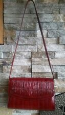 Vintage Eel Skin Burgandy Shoulder Handbag Clutch Purse Excellent Korea