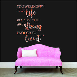 Wall Sticker Quote Rose Gold Chrome Phrases Home Decorations Room Removable