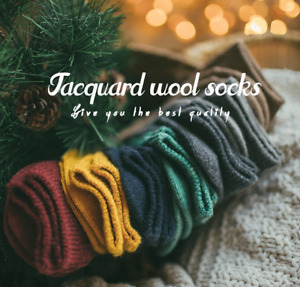 5 Pack Women Wool Cashmere Crew Socks Thick Warm Casual Design Multicolor Boot