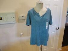 Terra & Sky Blue Womens Plus Short sleeve relaxed Notch Neck Tee 3X 24W 26W NWT