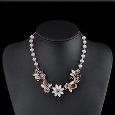 Classic Statement Choker Rock Flower Pendant Elegant Crystal Necklace Vintage