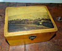 Antique 19th Century Victorian Collectable Mauchline Oak Trinket Box Velvet Line