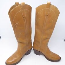 Vintage Kinney Shoes Leather Cowboy Boots 6 B Brown Boho 70s Hippie High Heel