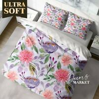 Watercolor Pastel  Leaf Floral Patterns Quilt Cover Double Bed Single Queen King