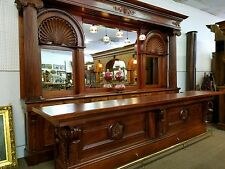 Beau Antique Mahogany Back And Front Bar From A Pub/saloon In Boston MA 15ft  Backbar
